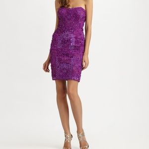 Sue Wong Purple Embroidered Cocktail Dress